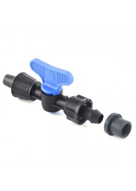 Valve with dripline-Ø15 mm gasket and nut offtakes, from PE or PVC pipe
