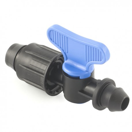 """Valve with """"Poly"""" dripline-gasket offtakes, from LD PE pipe"""
