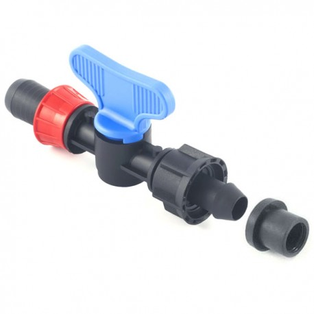 Valve with Tape-Ø15 mm gasket and nut offtakes, from PE or PVC pipe