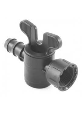 Valve with barbed-female thread with swivel nut offtakes