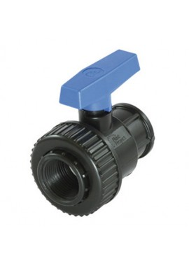 Black PVC ball valve with female threaded offtakes