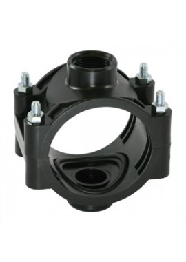 PN10 double clamp saddle, for PE and PVC pipes