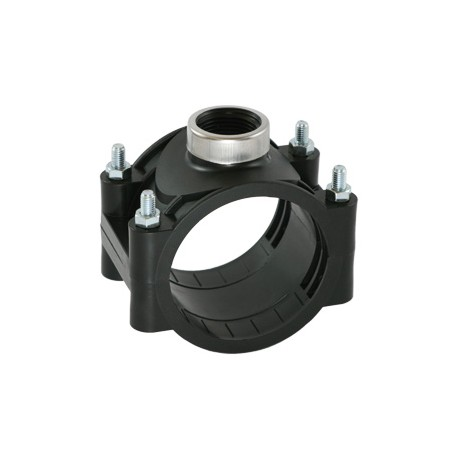 PN12.5 clamp saddle, for PE and PVC pipes, with reinforcing ring
