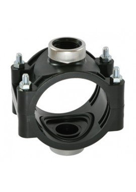 PN12.5 double clamp saddle, for PE and PVC pipes, with reinforcing ring