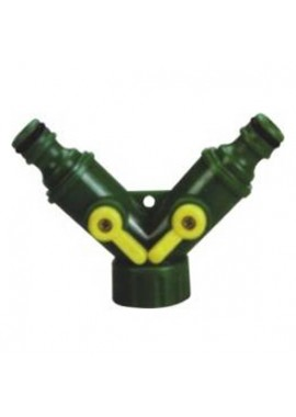 "Plastic snap-in ""Y"" hose connector w/shut off"