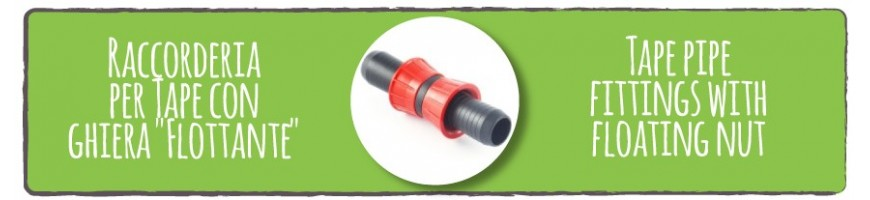 Tape pipe fittings with floating nut
